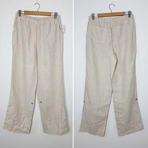 KATE HILL natural khaki linen wide leg pants